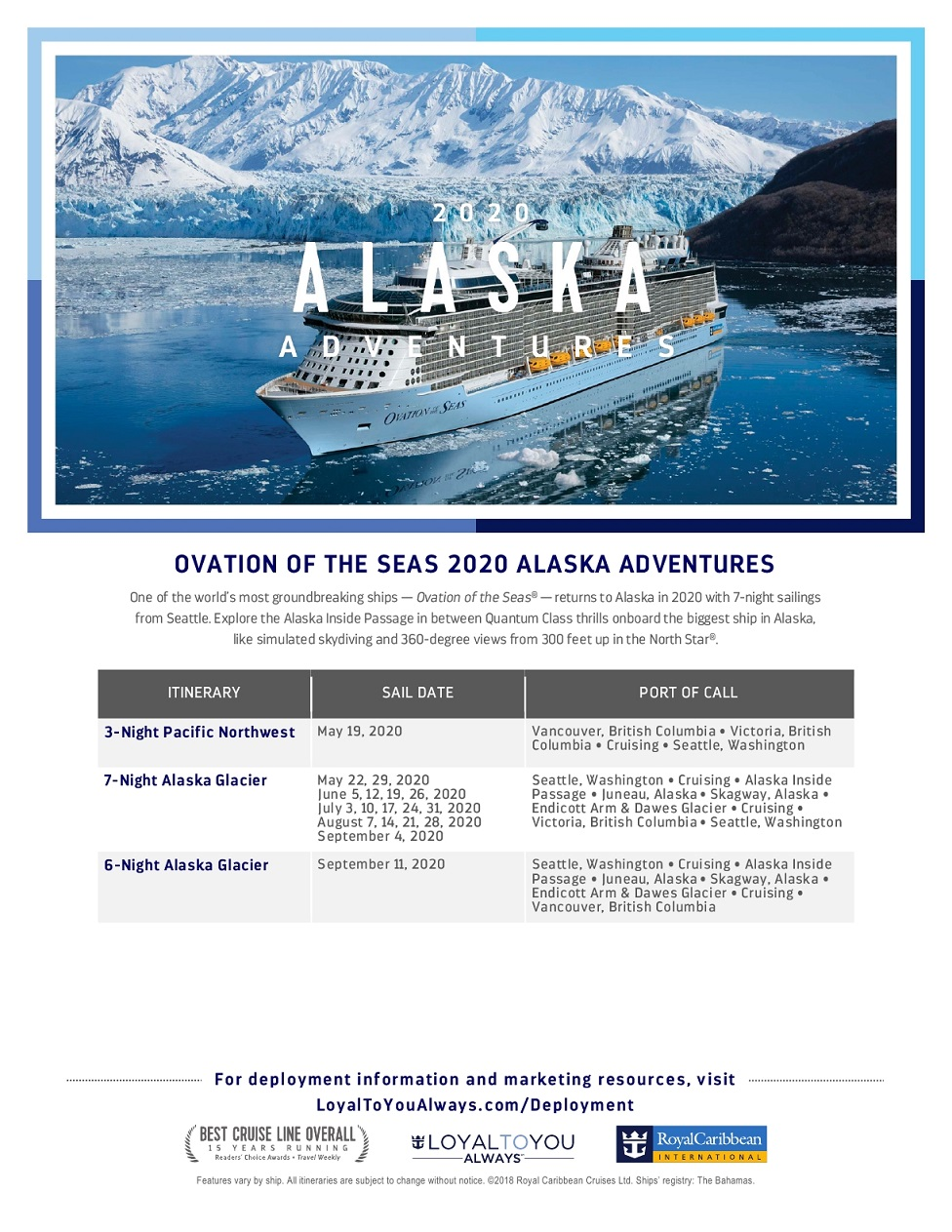 Royal Caribbean ALASKA & HAWAII 2020/2021