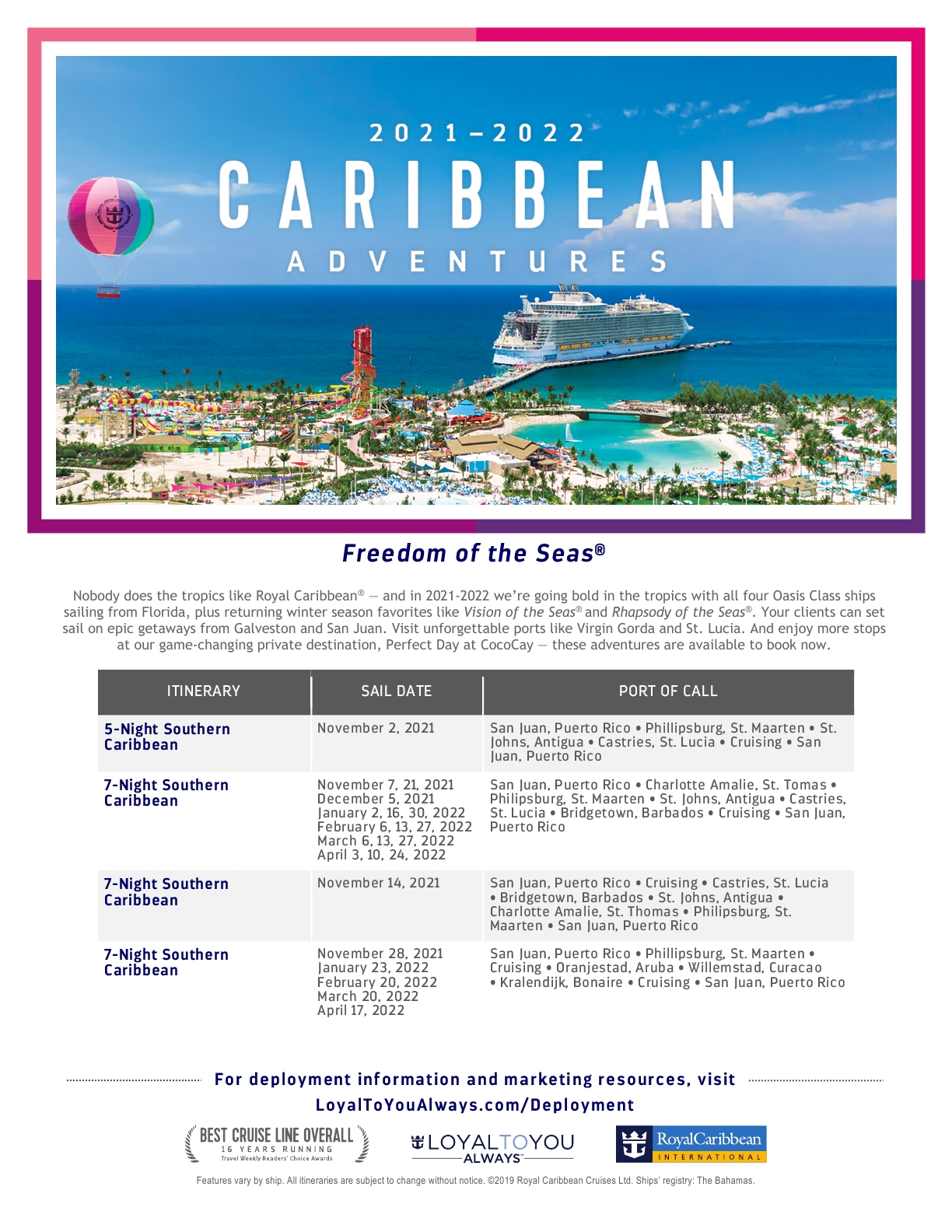 ROYAL CARIBBEAN CARIBE 2021-2022